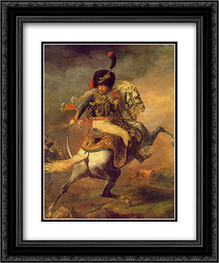 An Officer of the Imperial Horse Guards Charging 20x24 Black or Gold Ornate Framed and Double Matted Art Print by Theodore Gericault