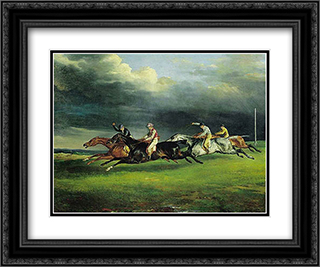 Derby at Epsom 24x20 Black or Gold Ornate Framed and Double Matted Art Print by Theodore Gericault