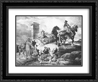English Scenes ' Horses 24x20 Black or Gold Ornate Framed and Double Matted Art Print by Theodore Gericault