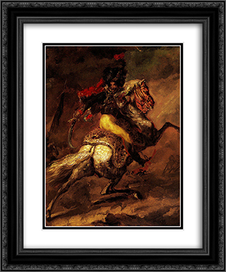 Study for the Charging Casseur 20x24 Black or Gold Ornate Framed and Double Matted Art Print by Theodore Gericault