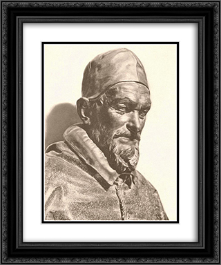 Bust of Pope Innocent X 20x24 Black or Gold Ornate Framed and Double Matted Art Print by Alessandro Algardi