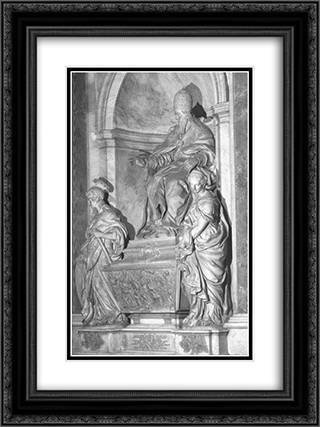 Monument of Pope Leo XI 18x24 Black or Gold Ornate Framed and Double Matted Art Print by Alessandro Algardi
