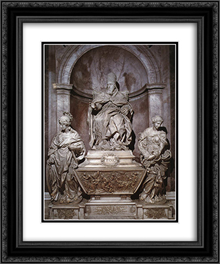 Monument of Pope Leo XI 20x24 Black or Gold Ornate Framed and Double Matted Art Print by Alessandro Algardi