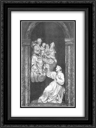Vision of St Nicholas 18x24 Black or Gold Ornate Framed and Double Matted Art Print by Alessandro Algardi