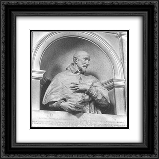 Bust of Cardinal Giovanni Garzia Mellini 20x20 Black or Gold Ornate Framed and Double Matted Art Print by Alessandro Algardi