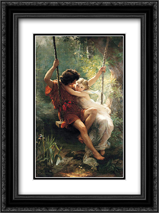 Springtime 18x24 Black or Gold Ornate Framed and Double Matted Art Print by Pierre Auguste Cot