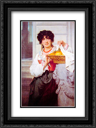 Pisan Girl with Basket of Oranges and Lemons 18x24 Black or Gold Ornate Framed and Double Matted Art Print by Pierre Auguste Cot