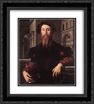 Portrait of Bartolomeo Panciatichi 20x22 Black or Gold Ornate Framed and Double Matted Art Print by Agnolo Bronzino