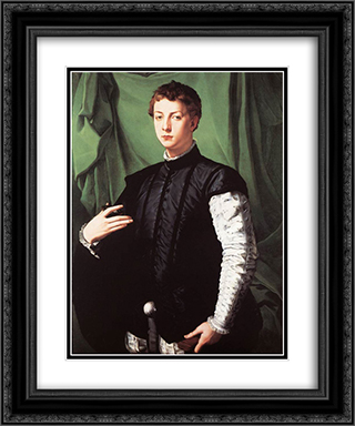 Portrait of Ludovico Capponi 20x24 Black or Gold Ornate Framed and Double Matted Art Print by Agnolo Bronzino