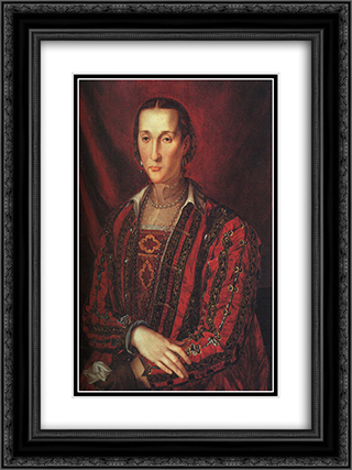 Portrait of Eleanora di Toledo 18x24 Black or Gold Ornate Framed and Double Matted Art Print by Agnolo Bronzino