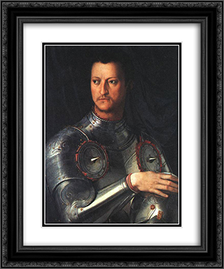 Cosimo I de' Medici in Armour 20x24 Black or Gold Ornate Framed and Double Matted Art Print by Agnolo Bronzino