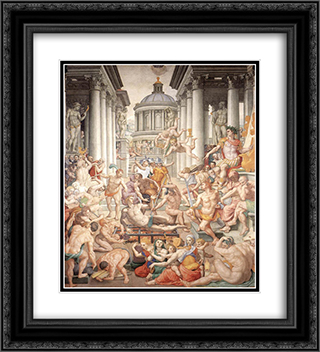 Martyrdom of St Lawrence 20x22 Black or Gold Ornate Framed and Double Matted Art Print by Agnolo Bronzino