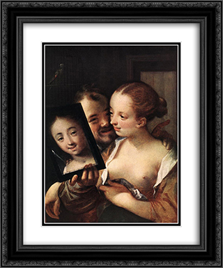 Joking Couple 20x24 Black or Gold Ornate Framed and Double Matted Art Print by Hans von Aachen
