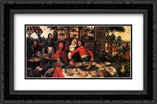 Peasant's Feast 24x16 Black or Gold Ornate Framed and Double Matted Art Print by Pieter Aertsen