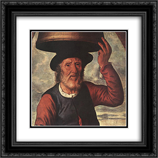 Market Scene (detail) 20x20 Black or Gold Ornate Framed and Double Matted Art Print by Pieter Aertsen