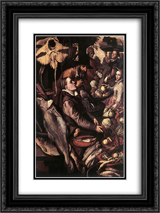 Market Scene 18x24 Black or Gold Ornate Framed and Double Matted Art Print by Pieter Aertsen