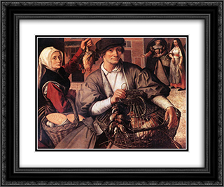Market Scene 24x20 Black or Gold Ornate Framed and Double Matted Art Print by Pieter Aertsen