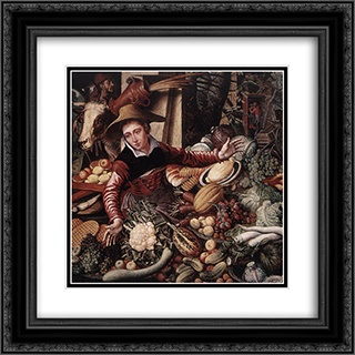 Vendor of Vegetable 20x20 Black or Gold Ornate Framed and Double Matted Art Print by Pieter Aertsen