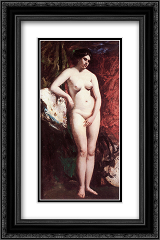 Standing Nude 16x24 Black or Gold Ornate Framed and Double Matted Art Print by William Etty