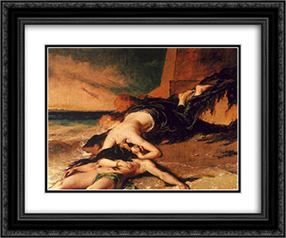 Hero and Leander 24x20 Black or Gold Ornate Framed and Double Matted Art Print by William Etty