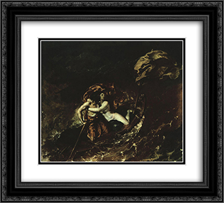 The Storm 22x20 Black or Gold Ornate Framed and Double Matted Art Print by William Etty