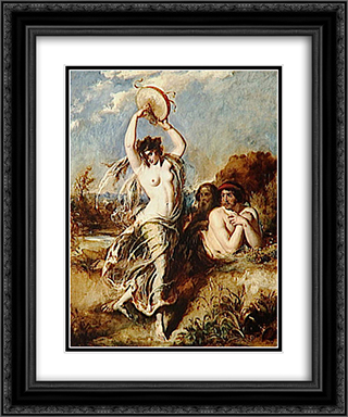 Bacchante Playing the Tambourine 20x24 Black or Gold Ornate Framed and Double Matted Art Print by William Etty