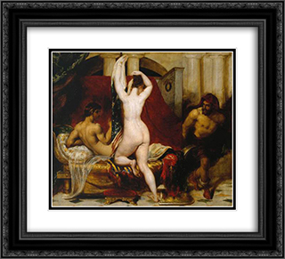 Candaules, King of Lydia, Shews his Wife by Stealth to Gyges, One of his Ministers, as She Goes to Bed 22x20 Black or Gold Ornate Framed and Double Matted Art Print by William Etty