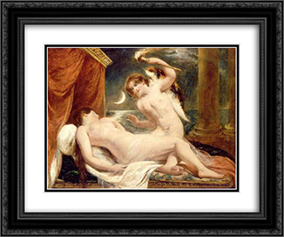 Cupid and Psyche 24x20 Black or Gold Ornate Framed and Double Matted Art Print by William Etty