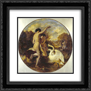 Female Bathers Surprised by a Swan 20x20 Black or Gold Ornate Framed and Double Matted Art Print by William Etty