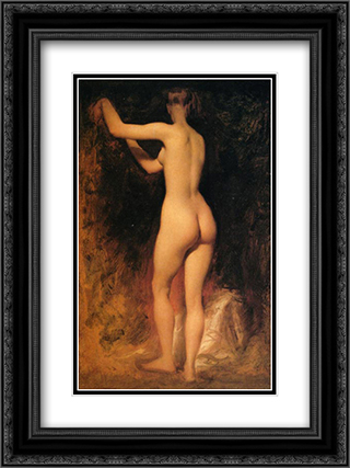 Nude Study 18x24 Black or Gold Ornate Framed and Double Matted Art Print by William Etty