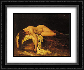 Nude Woman Asleep 24x20 Black or Gold Ornate Framed and Double Matted Art Print by William Etty
