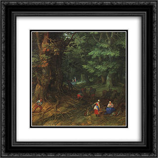 Rest on the Flight to Egypt [detail: 1] 20x20 Black or Gold Ornate Framed and Double Matted Art Print by Jan the Elder Brueghel