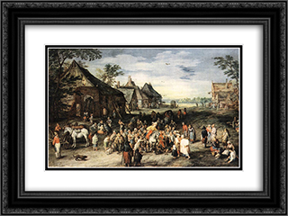 St Martin 24x18 Black or Gold Ornate Framed and Double Matted Art Print by Jan the Elder Brueghel