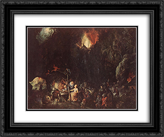 Temptation of St Anthony 24x20 Black or Gold Ornate Framed and Double Matted Art Print by Jan the Elder Brueghel