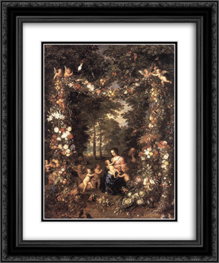 The Holy Family 20x24 Black or Gold Ornate Framed and Double Matted Art Print by Jan the Elder Brueghel