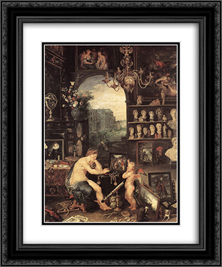 The Sense of Sight [detail: 1] 20x24 Black or Gold Ornate Framed and Double Matted Art Print by Jan the Elder Brueghel