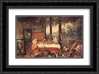 The Sense of Taste 24x18 Black or Gold Ornate Framed and Double Matted Art Print by Jan the Elder Brueghel