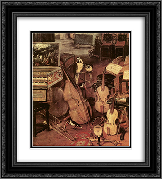 The Sense of Hearing [detail: 1] 20x22 Black or Gold Ornate Framed and Double Matted Art Print by Jan the Elder Brueghel