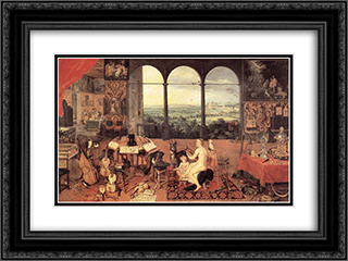 The Sense of Hearing 24x18 Black or Gold Ornate Framed and Double Matted Art Print by Jan the Elder Brueghel
