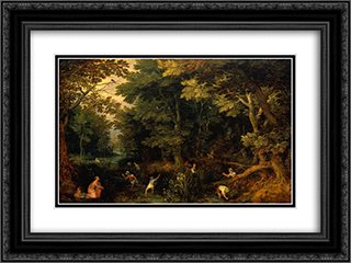 Latona and the Lycian Peasants 24x18 Black or Gold Ornate Framed and Double Matted Art Print by Jan the Elder Brueghel