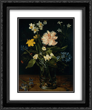 Still Life with Flowers in a Glass 20x24 Black or Gold Ornate Framed and Double Matted Art Print by Jan the Elder Brueghel