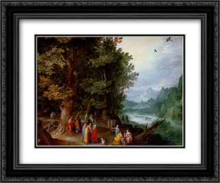 Saint John Preaching In The Wilderness 24x20 Black or Gold Ornate Framed and Double Matted Art Print by Jan the Elder Brueghel