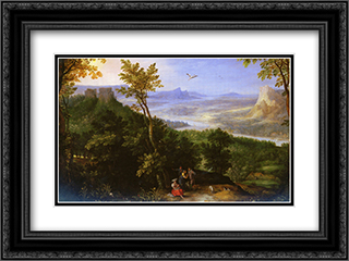 An Extensive Landscape With Figures On A Wooded Path 24x18 Black or Gold Ornate Framed and Double Matted Art Print by Jan the Elder Brueghel