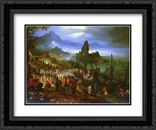 Christ Preaching At The Seaport 24x20 Black or Gold Ornate Framed and Double Matted Art Print by Jan the Elder Brueghel