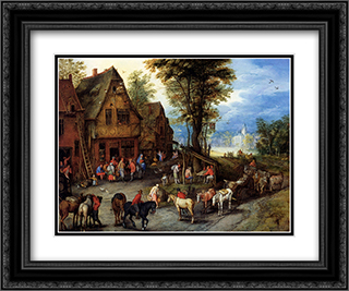 A Village Street With The Holy Family Arriving At An Inn 24x20 Black or Gold Ornate Framed and Double Matted Art Print by Jan the Elder Brueghel