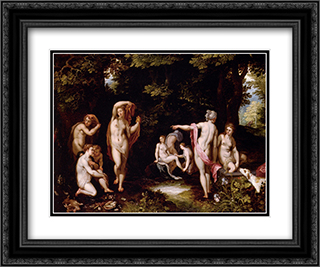 Diana And Actaeon 24x20 Black or Gold Ornate Framed and Double Matted Art Print by Jan the Elder Brueghel