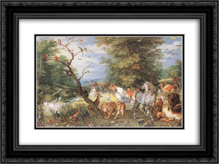 The Animals Entering the Ark 24x18 Black or Gold Ornate Framed and Double Matted Art Print by Jan the Elder Brueghel
