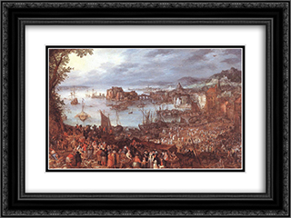Great Fish'Market 24x18 Black or Gold Ornate Framed and Double Matted Art Print by Jan the Elder Brueghel