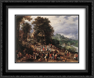 A Flemish Fair 24x20 Black or Gold Ornate Framed and Double Matted Art Print by Jan the Elder Brueghel