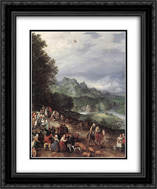 A Flemish Fair (detail) 20x24 Black or Gold Ornate Framed and Double Matted Art Print by Jan the Elder Brueghel